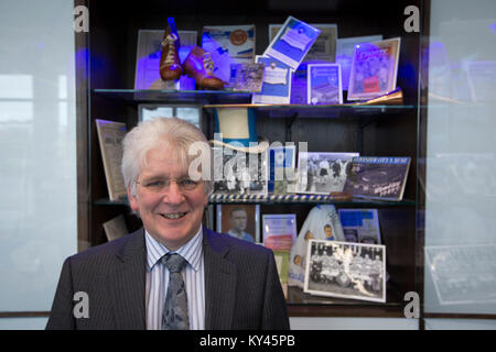 John Hutchinson, the club historian and archivist, pictured inside Leicester City's King Power stadium. Leicester - Stock Photo