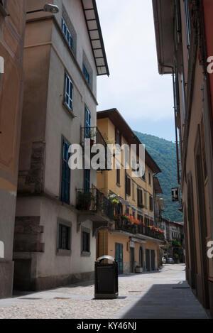 Quiet Italian street in Pisogne next to Lake Iseo - Stock Photo