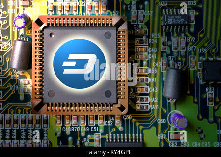 Virtual cryptocurrency and blockchain - financial technology and internet money - circuit board mining and coin - Stock Photo