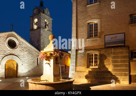 Place de l'Hotel de Ville and Eglise Notre Dame des Ormeaux in Greoux-les-Bain, Provence, France - Stock Photo