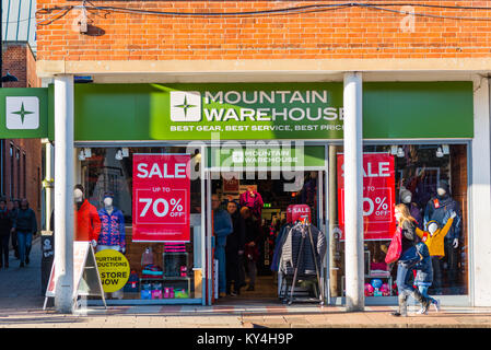 Mountain Warehouse storefront in Bury St Edmunds, Suffolk, England, UK. - Stock Photo