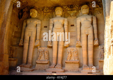 Ancient broken Buddha statues in the Rock of Gwalior / India - Stock Photo