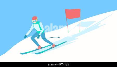Alpine skier on the ski track. - Stock Photo