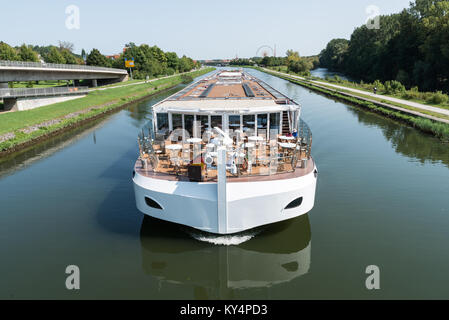 Passenger Ship on the Europa Canal in Regensburg, Germany - Stock Photo