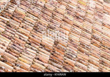 Old Italian terracotta roof tiles - Stock Photo