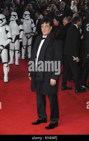 'Star Wars: The Last Jedi' European premiere at the Royal Albert Hall - Arrivals  Featuring: Benicio del Toro Where: - Stock Photo