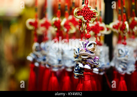 Common Chinese New Year decoration as seen in Singapore Chinatown. - Stock Photo