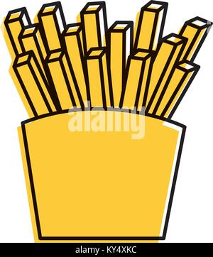 fries french fast food box icon - Stock Photo