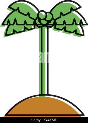 palm tree coconut sand island icon - Stock Photo