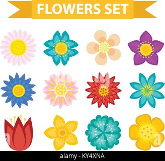 Flowers and leaves icon set, flat style. Floral collection isolated on white background. Spring, summer design elements - Stock Photo