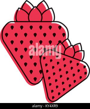 two strawberry fruit healthy food diet - Stock Photo