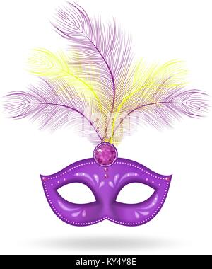 Mardi Gras Mask icon, realistic 3d style. Mask with feathers isolated on white background. Fat Tuesday concept. - Stock Photo