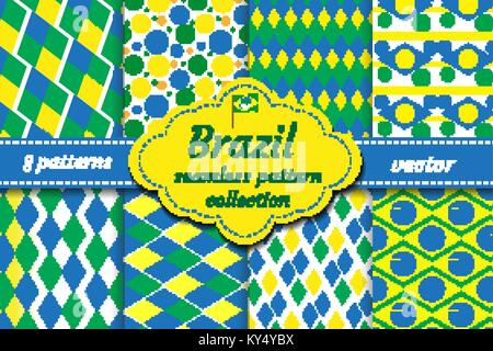 Brazil set of abstract geometric pattern. Collection blue, yellow, green rhombus repeating texture. Endless background, - Stock Photo