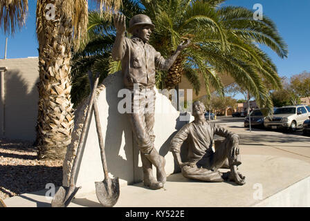 Dam Workers Sculpture at Boulder City, Nevada, USA. - Stock Photo