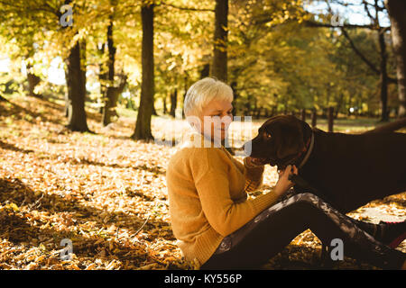 Senior woman sitting on ground and stroking her pet dog in the park - Stock Photo