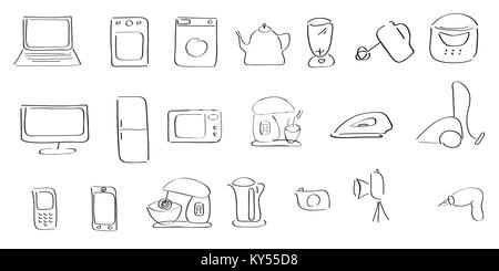hand-drawing icons of home appliances - Stock Photo