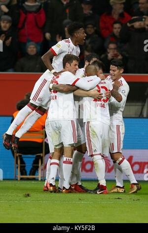 Leverkusen, Germany. 12th Jan, 2018. Players of Bayern Munich celebrate during the German Bundesliga soccer match - Stock Photo