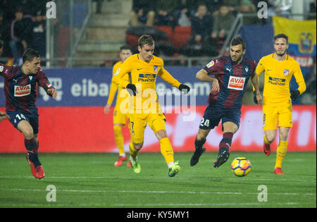(7) Antoine Griezmann, (24) Joan Jordan during the Spanish La Liga soccer match between S.D Eibar and Club Atletico - Stock Photo