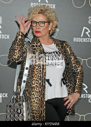 Munich, Germany. 12th Jan, 2018. Businesswoman Claudia Effenberg arrives at the Rodenstock Eyewear Show 2018 at - Stock Photo