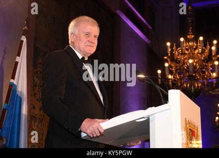 Munich, Germany. 12th Jan, 2018. Premier of Bavaria Horst Seehofer (CSU) speaking at a New Year reception at the - Stock Photo