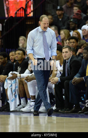 Seattle, WA, USA. 13th Jan, 2018. Washington Head Coach Mike Hopkins showing his intensity during a PAC12 basketball - Stock Photo