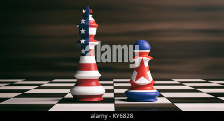 USA and North Korea relationship concept. US America and North Korea flags on chess kings on a chess board, brown - Stock Photo