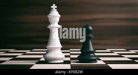 White chess king and black pawn soldier on a chessboard. 3d illustration - Stock Photo
