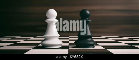 White and black chess pawns soldiers on a chessboard. 3d illustration - Stock Photo