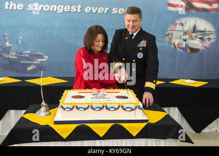 Busan, Republic of Korea (Jan. 11, 2018) Rear Adm. Michael E. Boyle, commander, U.S. Naval Forces Korea, and his - Stock Photo