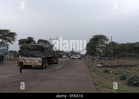 Ferry terminal and cross-border Kazungula at the Zambezi River in Zambia - Stock Photo