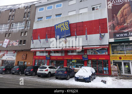 Pas de la Casa, tax free shopping, in winter, Andorra, Pyrenees - Stock Photo