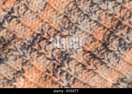 Macro color image of colourful melange knitted texture. - Stock Photo