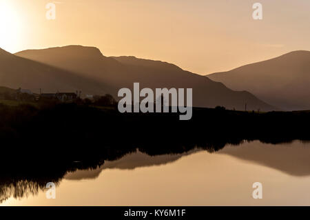 Evening light on Lake Shanaghan near to Ardara, County Donegal, Ireland - Stock Photo