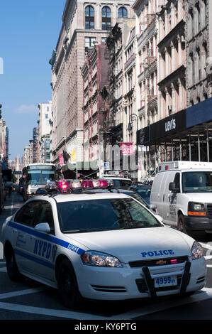 Police car un Broadway Street in the neighborhood of Tribeca. Manhattan New York USA - Stock Photo