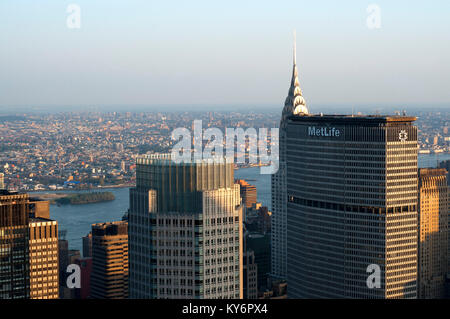 Views of Lower Midtown with Metlife building in the foreground and behind the Chrysler Building. - Stock Photo