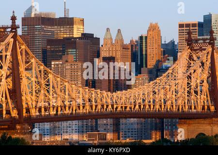 Queensboro Bridge, Manhattan skyline viewed from Queens, New York USA - Stock Photo