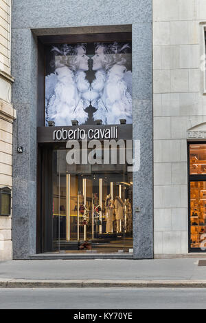 Milan, Italy - August 10, 2017: Roberto Cavalli shop in the city center of Milan, concept of luxury, shopping, elegance - Stock Photo