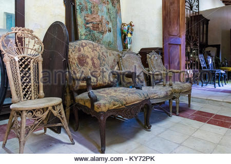 Clara Carta original furniture (Louis XVI style) waiting for restoration in the Colonial Art Decorative Museum. - Stock Photo