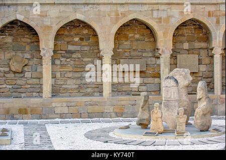 Archaeological exposition in old city, Baku, Azerbaijan - Stock Photo