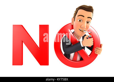 3d businessman no smoking concept, illustration with isolated white background - Stock Photo