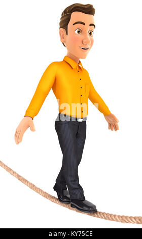 3d man walking on a rope, illustration with isolated white background - Stock Photo