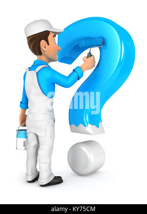 3d painter painting question mark, illustration with isolated white background - Stock Photo