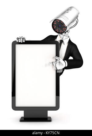 3d security agent with camera head pointing to blank billboard, illustration with isolated white background - Stock Photo
