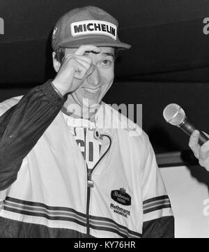 American rider Freddie Spencer at the 1985 British motorcycle Grand Prix Moto GP, which he won. - Stock Photo