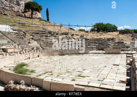 The Theatre of Dionysus Eleuthereus is a major theatre in Athens, Greece. The Theatre built at the foot of the Athenian - Stock Photo