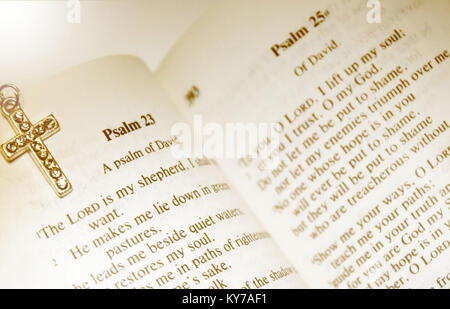 Bible Opened At Psalm 23 - The Lord Is My Shepherd - Stock Photo