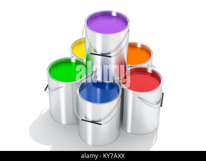 Silver Paint Buckets - 3D Rendering - Stock Photo