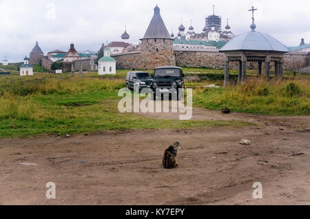 Solovetsky Monastery on Bolshoy Solovetsky Island (Solovki Islands, Russia) seen from a Country Road near Solovetsky - Stock Photo
