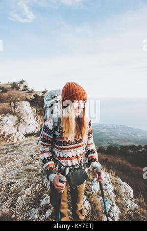 Happy Woman Traveler with backpack hiking Travel Lifestyle concept adventure active vacations outdoor - Stock Photo