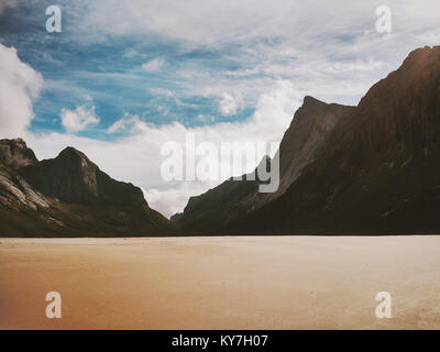 Landscape Horseid Beach in Norway Lofoten islands scenic view Summer Travel wild nature scenery - Stock Photo